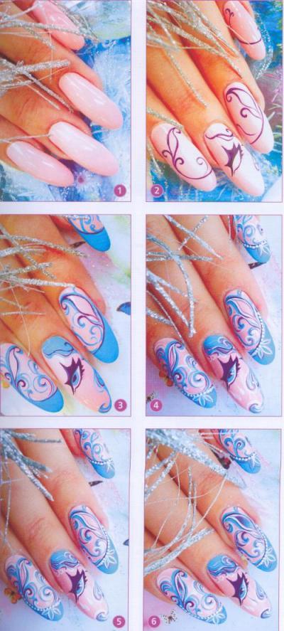 Рисунок на два ногтя фото