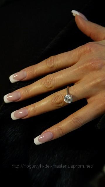 """Френч (акрил) удлинение ногтевого ложа комуфлирующей пудрой ( материал  """"KODI """") ."""