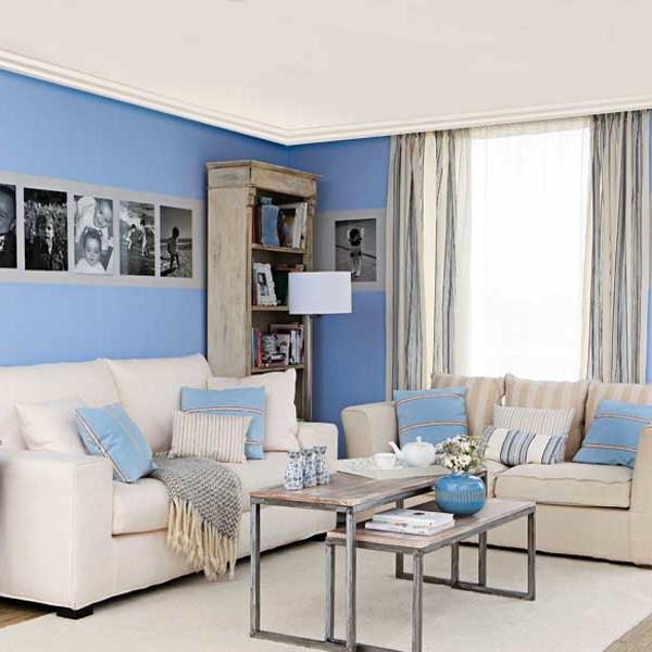 Бело-синий и бело-голубой интерьер.