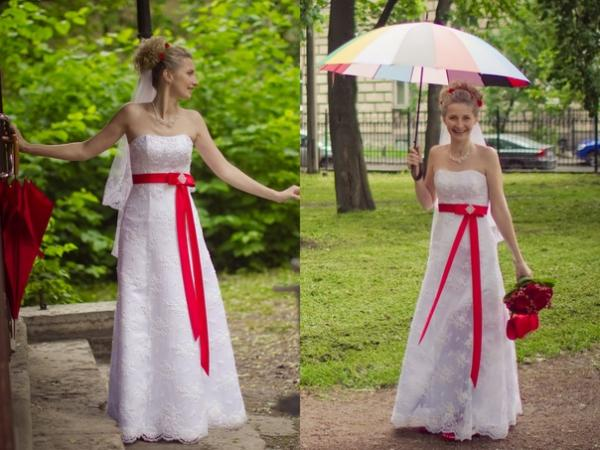 свадебные платья с красным поясом