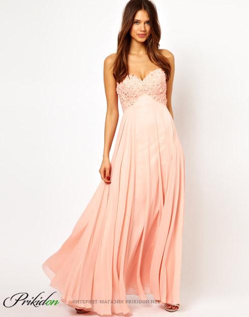 Бледно-розовое платье в пол