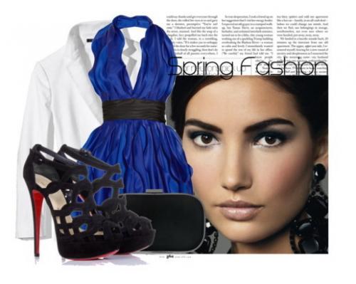 Чёрные Босоножки И Голубое Платье
