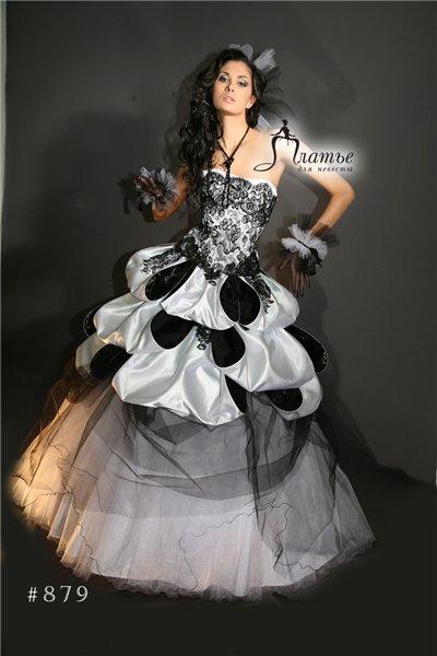 Изобр по > Черное Белое Свадебное Платье