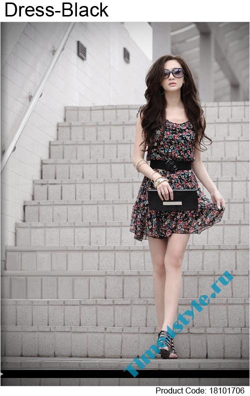 Короткое черное платье с розочками - Интернет магазин Flady.