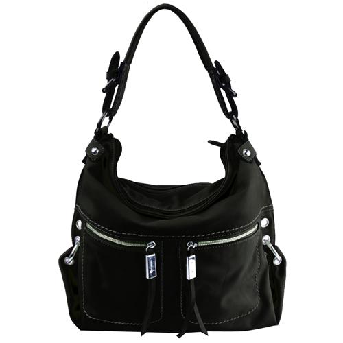 Оригинальная женская сумка черного цвета из кожзама.