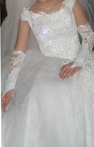 Пышное свадебное платье - Стразы на корсете.