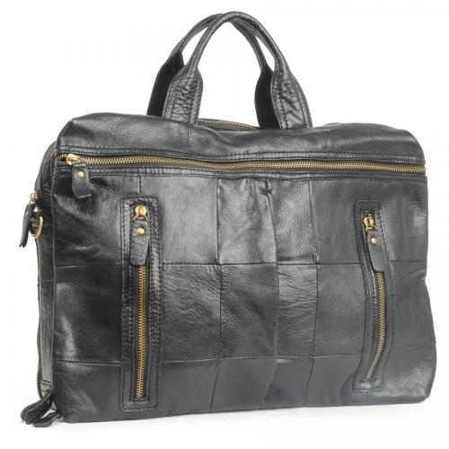 0121 Black сумка А4 3-и отделения.