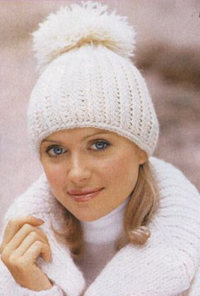 спицами вязание с мехом шапка с