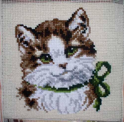 Схема для вышивки гладью кошка