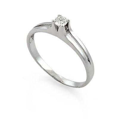 Кольцо бриллиант, белое золото; АРТ:КБ866-173; Вес:1,73 г.; Цена:13990 р.