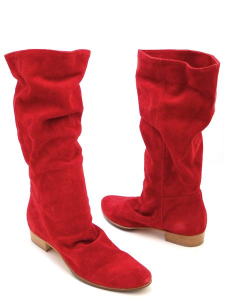 Красные замшевые весенние сапожки итальянской марки OVER MODA ОБУВЬ.